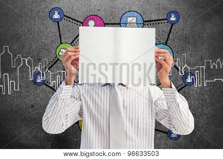 Businessman holding a white card covering his face against hand drawn city plan