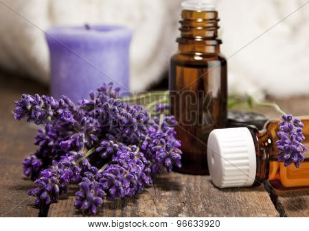Lavender flowers and bottles for aromatic essences