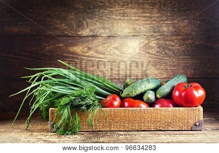 Vegetables In Wooden Box