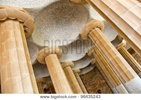 BARCELONA, SPAIN - MAY 02: Columns of Sala Hipostila, Park Guell ( UNESCO World Heritage Site), hill of El Carmel, Gracia (district), Barcelona, Catalonia, Spain on May 02, 2015