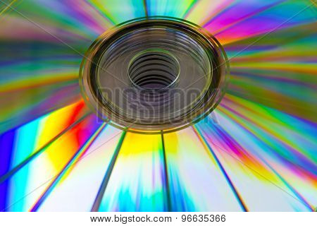 Abstract Background Cd Disk With The Defocused Image Of Purple