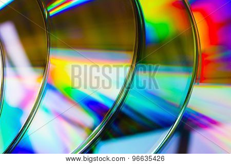 Abstract Background Band Cd Discs Defocused Light Refraction Reflection