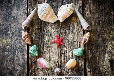 Heart Of Seashells, Shells, Shells, Sea Stars On A Wooden Table Selective Focus