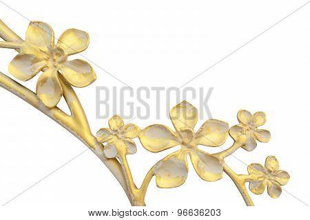 Brass Flower Decor Isolate On White Background