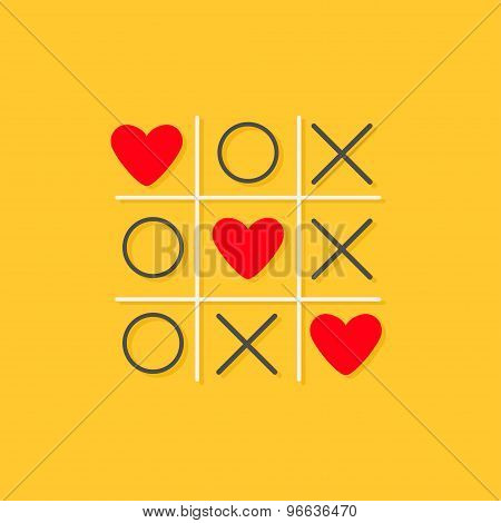 Tic Tac Toe Game With Cross And Three Red Heart Sign Mark Love Card Flat Design Yellow Background