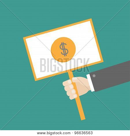Businessman Hand Holding Paper Blank Sign Plate With Dollar Coin On The Stick Flat Design