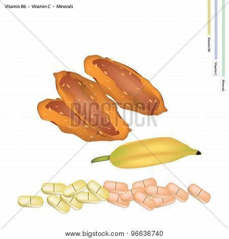 Delicious Dried Bananas with Vitamin B6 and Vitamin C