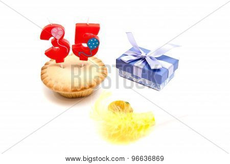 Cupcake With Thirty Five Years Birthday Candle, Whistle And Gift