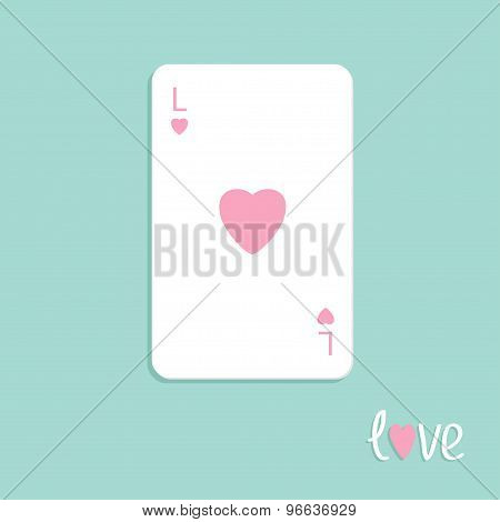Big Poker Playing Card With Heart Sign Love Background Flat Design