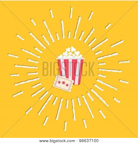 Popcorn And Ticket. Cinema Icon In Flat Design Style. Shining Effect Dash Line