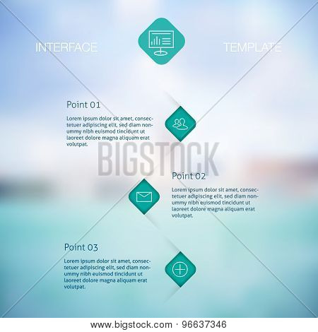 Set of infographic template layouts. Flow chart secuence numbered banner design on blue background