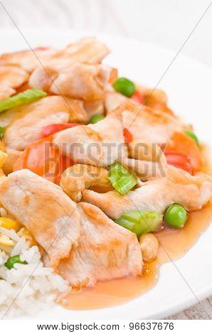 Chicken Cashew Rice Dish