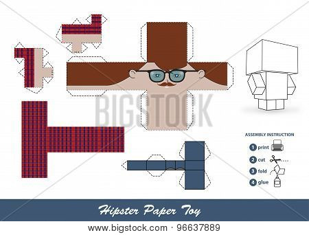 Hipster Paper Toy With Assembly Instruction.