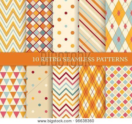 10 Retro Different Soft Seamless Patterns.