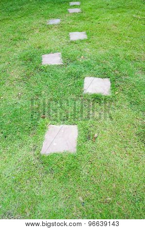 Cement Block Path In The Garden