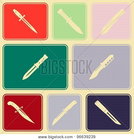 Seamless background with combat knives