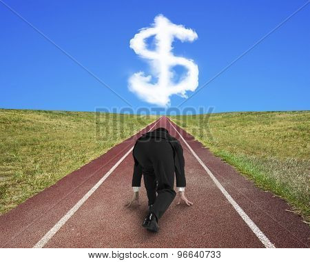 Businessman Ready To Race On Running Track Toward Dollar Sign