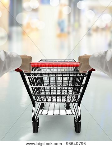 Hands Pushing 3D Empty Shopping Cart