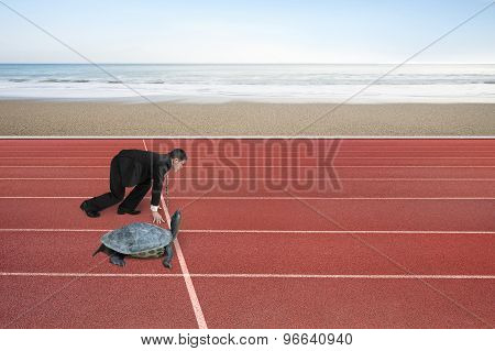 Businessman And Turtle Are Ready To Race On Running Track