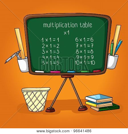 illustration of school. school board, the multiplication table, ruler, pencil holder, dustbin