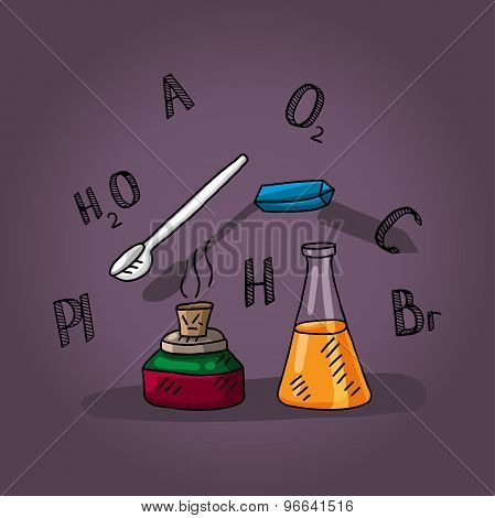 illustration for a chemistry lesson with flasks, chalk, spoon and burner