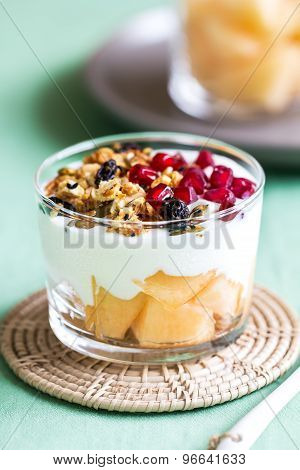 Granola With Greek Yougurt And Cantaloupe
