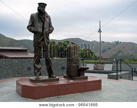 The Lone Sailor Memorial Statue in San Francisco California