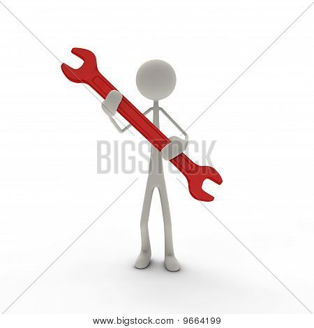 Figure with screw wrench red