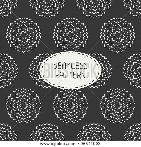 Geometric monochrome art hipster line seamless pattern with circle, round. Wrapping paper. Scrapbook
