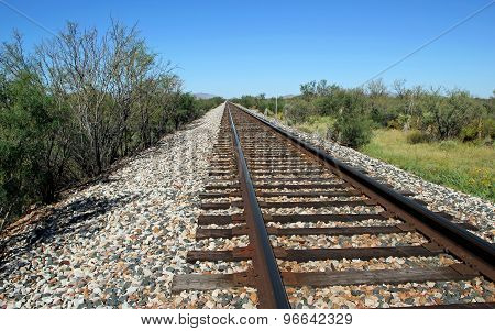 Railroad Tracks Go on for Miles in West Texas