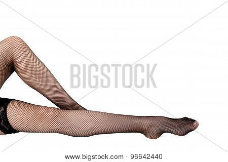 slim female legs in stockings