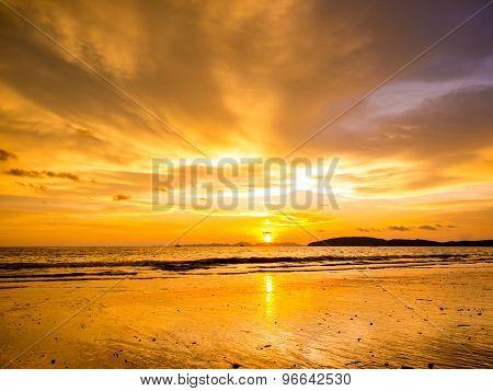 Tropical sunset on the beach. Ao-Nang. Krabi. Thailand