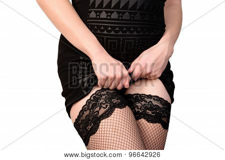 seductive woman in stockings