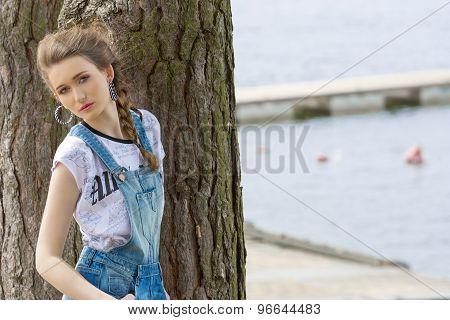 Stylish Girl Near Lakeside