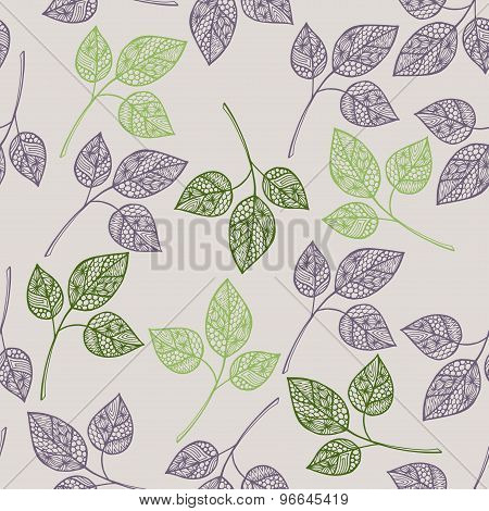 Seamless Doodle Leaves Pattern With Hand Drawl Ornamental Leaves Illustrations