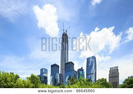 low angle view of modern skyscrapers and sky