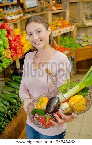 Proud of her vegetable basket