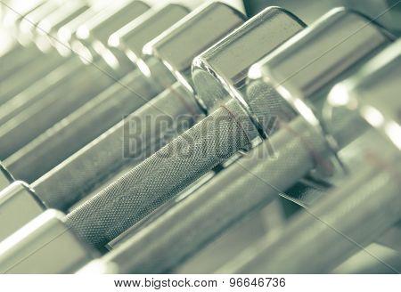 Steel Dumbells Closeup