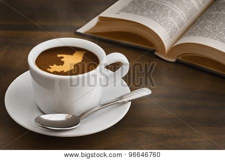 Still Life - Coffee With Map Of Republic Of The Congo