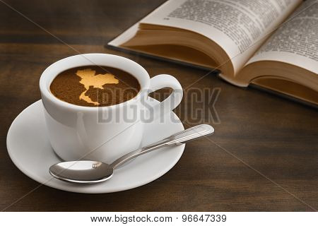 Still Life - Coffee With Map Of Thailand