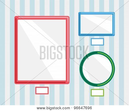 Image frames on wall. Photo, museum or empty wall, gallery, frame, advertisement and poster, paper,