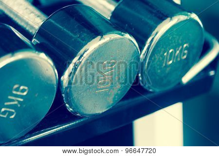 Rusty Steel Dumbells Closeup On 10 Kg One