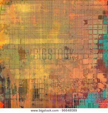 Old abstract texture with grunge stains. With different color patterns: yellow (beige); brown; blue; red (orange)