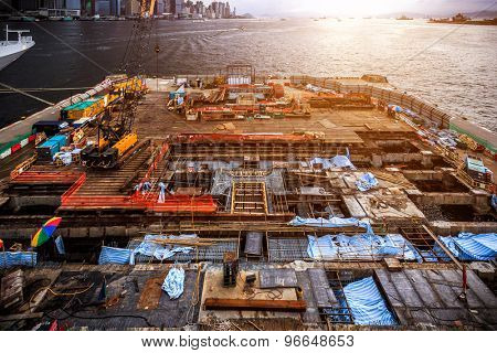 construction site and skyline of hong kong
