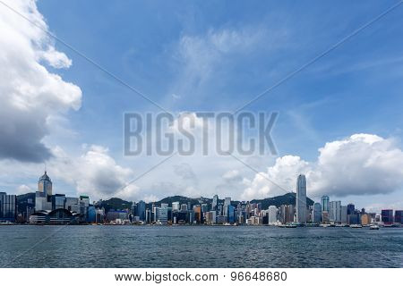 panoramic cityscape and skyline of hongkong harbor