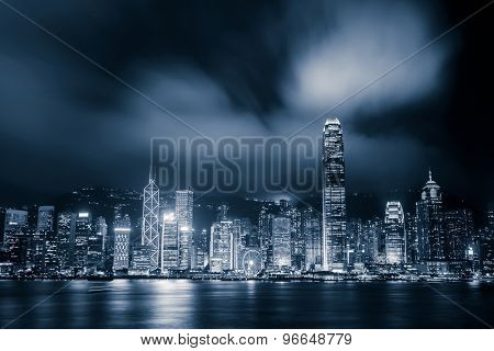 panoramic cityscape and skyline of hongkong harbor at night