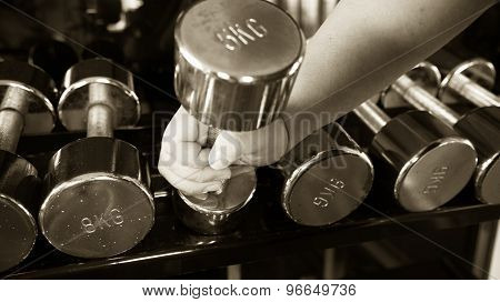 Chubby Man Holding  Dumbell  Copper Black And White