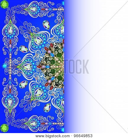 illustration background with gold pattern round gems copy space