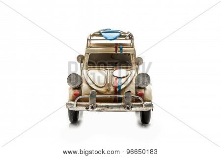 Ancient Toy Car Isolated On White Back Ground
