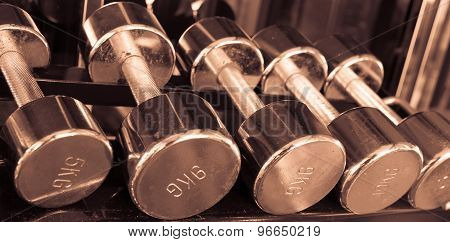 Dumbells In Gym  Vintage Tone